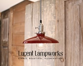 Lighting With Red Enamel Shade and Reproduction Wire