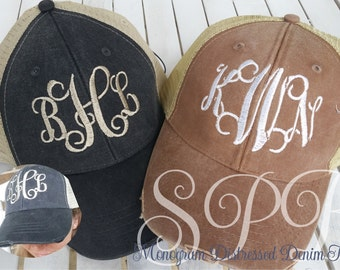 Distressed Denim Monogram Caps