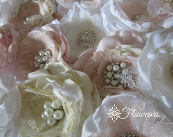 Small fabric flowers in white blush gold ivory, Set of 2, Wedding cake decoration, Bridal small hair flowers, Wholesale fabric flowers