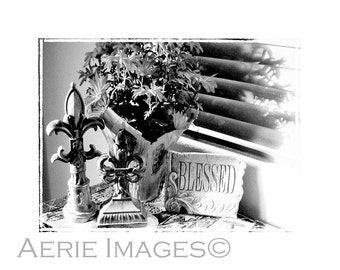 Blessed, Black and White Still Life, 5x7 Photo, Thanksgiving or Friendship Message