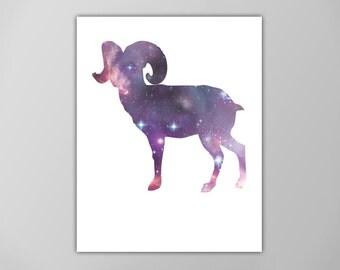 Ram Spirit Animal Art Print, Galaxy Ram Poster,  Astrology Graphic Art, Spirit Guide Poster, Ram, Sheep Art Print, Ram Poster, Ram Animal