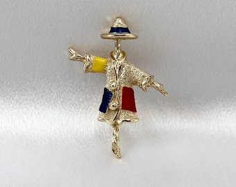 """Sarah Coventry Jewelry, Brooch Scarecrow Patches, Vintage, Vintage Sarah Coventry Scarecrow Brooch. """"Patches"""""""