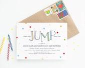Bounce House Birthday Party Invitations - Run Jump and Play Children's Birthday Invitation