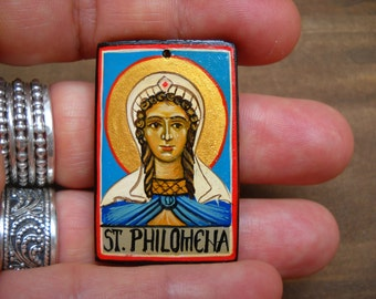Miniature icon of St Philomena,Filumena - Patron of babies, young people, and infertile couples