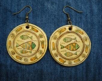 Religios Earrings,Religious Ceramic Earrings,Christian Fish Jesus Symbol-ichthus- Jesus Earrings, Jesus Earrings, God Earrings