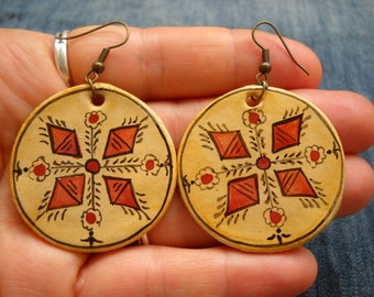 Romanian traditional motif, earrings, original folk art painting,folk art jewelry,  hippie jewelry, Hand Painted Jewellery