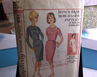 Mad Men Sheath Dress Vintage 1960s Sewing Pattern Simplicity 5654 Size 11 COMPLETE
