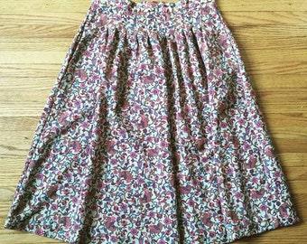 SALE Hippie Retro Girl on Horse Print High Waisted Skirt w/ Pockets - Paisley Floral Birds - Boho Bohemian 70's - Rare Handmade - Large - L