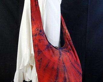 Tie Dye Bag Purse Hobo Hippie Sling Crossbody Messenger Classic OAK Long Strap Red Navy Blue UC2-13
