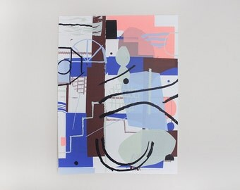 Screenprint handmade original blue - purple - pink - black / Connexion interrompue