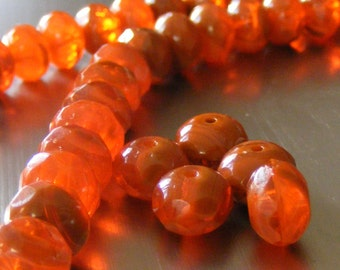 10 Czech Glass Beads . 6x9mm . bi color orange hyacinth (bk0253)