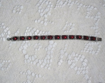 Victorian Sterling Bracelet with Red Stones