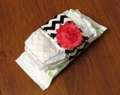 Sale Riley Blake Black and White Chevron Diaper Strap with Hot Pink Frayed Shabby Chiffon Flower