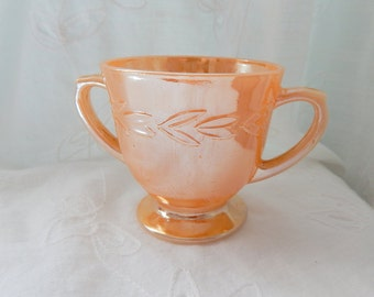 Vintage Sugar Bowl, Peach Luster Sugar Bowl, Cottage Chic Kitchen Decor