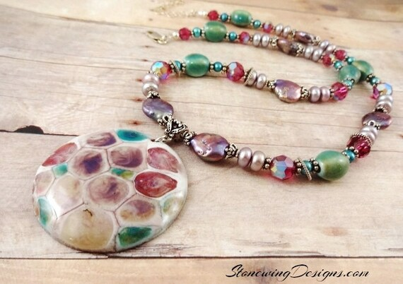 Enamel, Freshwater Pearls, Swarovski and Ceramic Necklace in Lavender Green Teal and Fuchsia