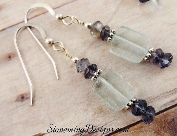 Aquamarine and Iolite Earrings