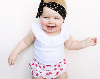 Scented Strawberry Baby Girl Bloomer Shorts with Lace Tank