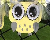 Owl baby shower, gender neutral, gender reveal baby shower banner, yellow,  gray, grey, photo prop,