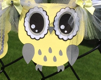 Owl baby shower, owl banner, owl decorations, gender neutral banner, gender reveal banner, yellow and gray decorations, photo prop,