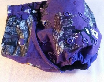 "SassyCloth one size pocket diaper with ""Nightmare before Christmas"" cotton print. Made to order."