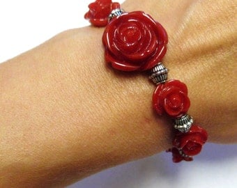 Red Rose Bracelet Day of the Dead 7 Roses Jewelry
