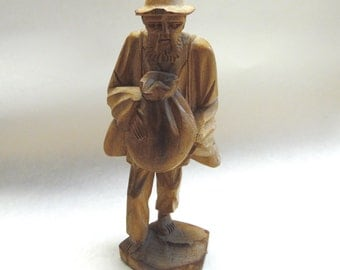 Hand Carved Man With Bag Wooden Statue Wood Carving