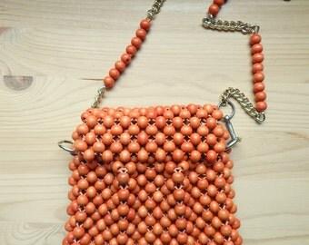 Vintage 1960s Orange Wood Bead Purse Shoulder Strap Debbie Made in Japan
