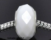 WHITE Crystal FACETED Glass Bhb BEAD Charm European Bracelets Birthday Gift Jewelry