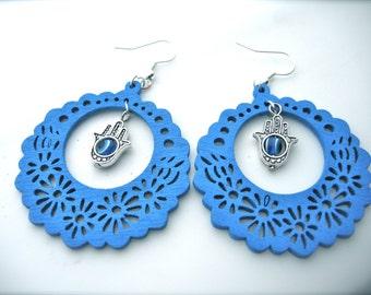 Wooden Earrings , blue Earrings. Hoops Earrings. Bright Earrings. Flower Floral,Fatima hand charm, Hamsa charm