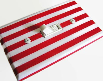 RED WHITE STRIPES Light Switch Cover Plate Switchplate Nautical Decor