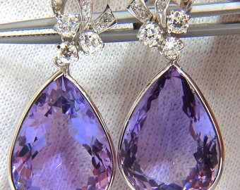 34.00CT Natural Vivid Purple Amethyst Dangle Earrings 10KT