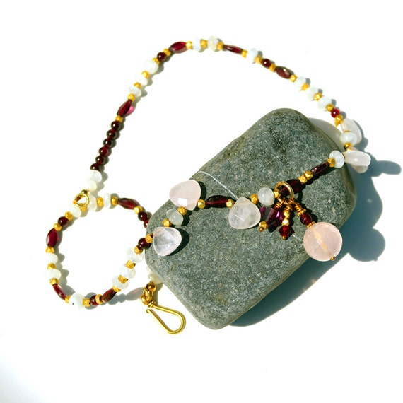 Garnet, moonstone, pink quartz necklace