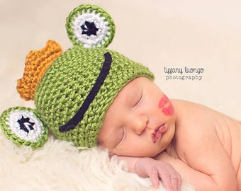 Newborn Prince Charming Beanie / Frog Hat / Baby Valentines Day Hat / COMPLIMENTARY SHIPPING