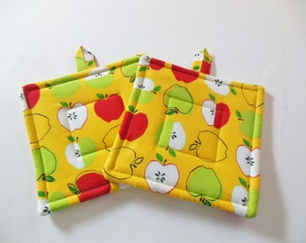 Potholders, Set Of Two Quilted Potholders, Pr Of Yellow Apple Potholders, Gift