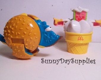 McDonalds Happy Meal Toys, Changeables, Dinosaur, Cheese Burger and RARE Pink Ice Cream Cone, 1988, Transformers, Food Toys, Gofts for kids