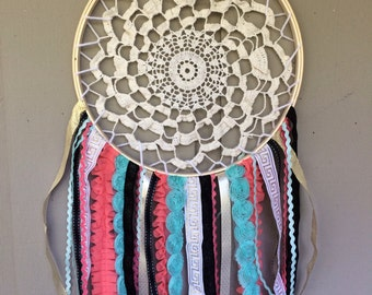 DREAM CATCHER - Nursery, Room Decor, Baby Shower - Vintage, Boho Chic - Coral, Mint, Gold, Black - Ready to Ship - OOAK