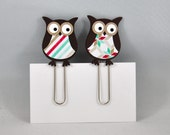 Mini Paperclip Bookmarks Set of 2, Paper, Owls, Aqua, Red, Stripes, Patterns, Planner, Page Markers, Journal, Embellishments, Scrapbooking