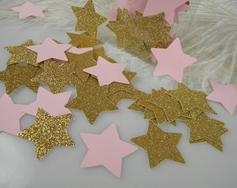 Twinkle star Little baby shower Confetti Gold & Pink Party Decoration / 1st Birthday / Its a Girl Baby Shower / 100 pcs