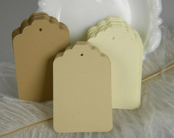 150 Gift Tags / Hang Tags / Die Cuts / Escort Cards / Large price Tags / Blank / Vintage Cream / Ivory- Sand beige- Coffee Wish Tree tags