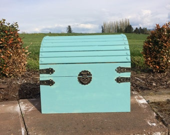 Wedding Card Keepsake Box, Cascade Blue Painted Treasure Chest, Wedding Card Holder, Card Box with Slot