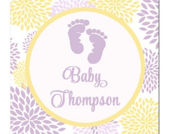 Baby Feet Tag Printable or Printed with FREE SHIPPING - ANY Wording- Personalized Baby Tag or Sticker