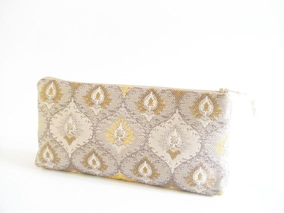 OOAK Gold Damask Clutch, Gift for Bridesmaid, Bridesmaid Bag, Wedding Clutch Handbag, Girl Graduation Gift