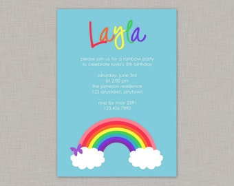 Rainbow Invitation, Rainbow Birthday Invitation, Rainbow Party