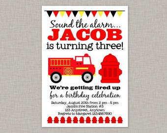 Firetruck Invitation, Firetruck Birthday Invitation, Firetruck Party