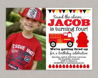 Firetruck Birthday Invitation, Firetruck Birthday Party, Printable