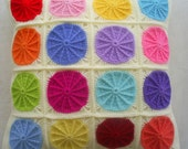 the colorful polkadot crochet granny square cushion cover / pillow cover