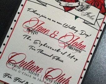 Rockabilly Wedding Invitation - Rock and Rose Wedding Invitation