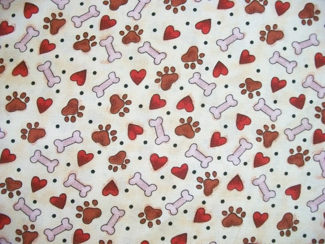 Dog bone tracks fabric by the yard quilting sewing fabric for Sewing fabric by the yard
