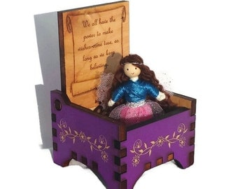 Tooth Fairy Box with Fairy doll - Wooden Fairy Keepsake Box - Small Wooden Jewelry Box - Trinket Box - Handmade Purple