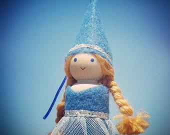 Peg Doll Princess - Peg People - Waldorf Peg Doll - Castle Dollhouse Peg Dolls - Blue